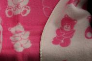 Baby-/kinderdeken met berendessin, 100% wol. roze/wolwit