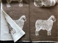 Wollen plaid met schapendessin, bruin/wolwit