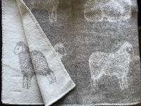 Wollen plaid met schapendessin, beige/wolwit