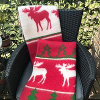 Kerstplaid met elanden, 100% wol, rood/groen/wolwit