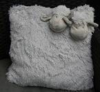 Kussen met schapenkopjes, grijs, ca. 35x35 cm
